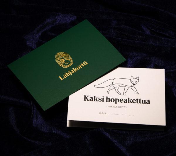 Lahjakortti tilaustuotelahjakortti Kaksi Hopeakettua