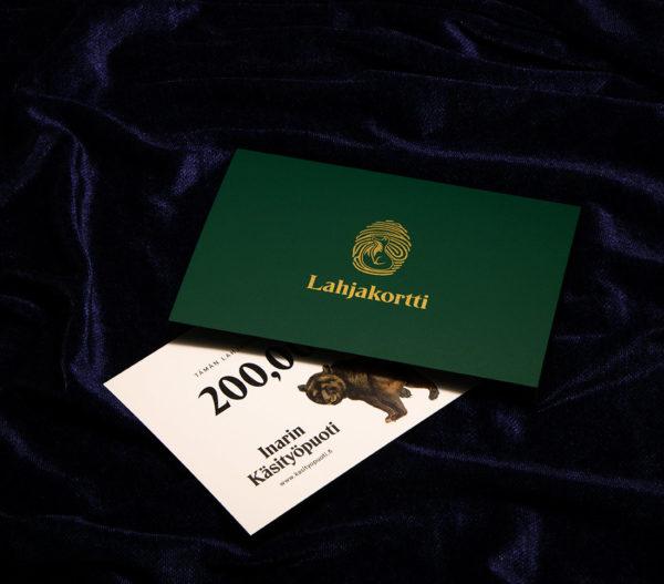Lahjakortti valmiiksi painettu